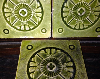 Set of 5 Green Victorian Architectural Salvage Tiles