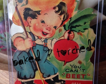 Vintage Valentine Farmer Boy & with a Beet