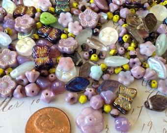 Flora Botanica Bead Mix - Midnight Lavender - 2 oz czech beads - english cut beads