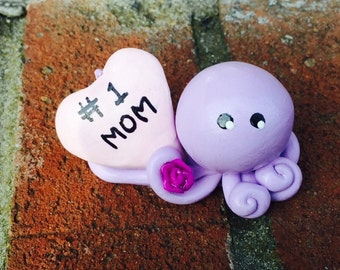 Mothers Day I Love Mom Octopus Mini Marble Friend with pale pink Heart and violet rose Personalization Free shown in lavender and yellow