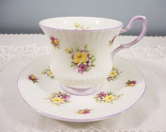 Royal Dover Yellow Floral Bone China Teacup and Saucer - Violet Trimmed