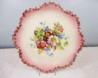 Vintage Hand Painted Large Plate with Unique Border - Signed Jessie Bauer - 1959 - 11""