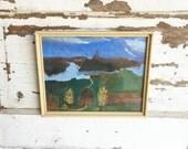 Vintage Primitive Landscape Painting - Folk Child Art - Cabin Lake