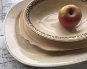 Antique Ironstone Serving Platters - Distressed and Stained - Meakin Carrollton Crescent - RESERVED til 8/26