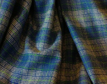 Plaid Wool Fabric, in shades of the ocean!