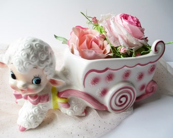 Vintage Pink Ceramic Lamb Planter - Nursery Decor
