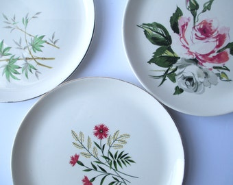 Vintage Mismatched China Dinner Plates Pink Green Set of Three