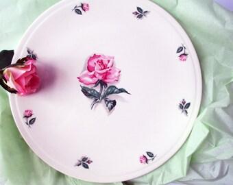 Vintage Homer Laughlin Rhythm Rose Pink Round Serving Platter