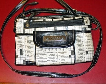 Decoupaged Crossword Puzzle Purse Recycled Crossword Puzzle Paper