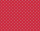 20% OFF White Swiss Dots on Red - 1/2 Yard