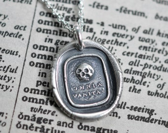 skull wax seal necklace pendant ... omnia vanitas - all is vanity - Latin motto silver antique wax seal jewelry