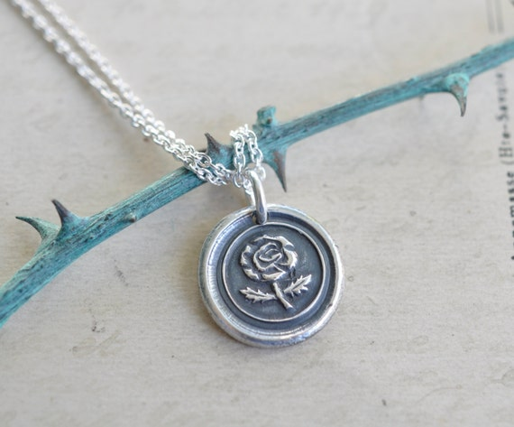 wild rose wax seal necklace - rose pendant … love, beauty - fine silver antique wax seal jewelry