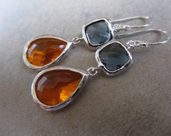 Orange and Blue Earrings, Silver, Dangle, Drop, Autumn, Fall, Irisjewelrydesign