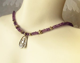 Yoga .925 Sterling Silver Pendant on Amethyst Real Gemstone Necklace - February Birthstone Gift for Yogi Buddhist Meditation