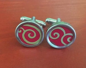 Red and Gold Mens Cufflinks.  Womens cufflinks too.  Great anniversary gift.  Mens birthday gift.