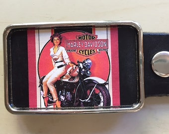 Harley Motorcycle Belt Buckle.  Vintage Ad.  Belt buckles for men and women.  Birthday gift for Dad.