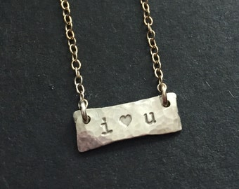 Sterling silver bar tag hammered rectangle hand forged valentines i love you ooak necklace chain prndant charm