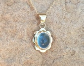 Aquamarine pendant, blue aquamarine gold pendant, little gold pendant with bezel set blue aquamarine oval cabochon
