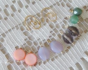 Earring Gift Set, Beaded  Earrings, Gold Dangle Bead Earrings,Purple Glass, Coral Shell,Green Quartz , AB Glass, Gift for Mom, 4 Pairs in 1