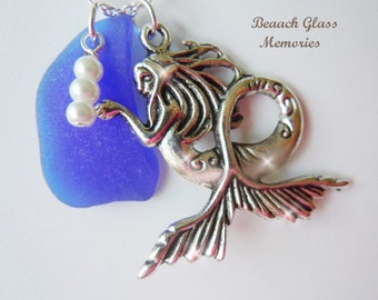 Mermaid Sea Glass Necklace Blue Beach Glass Necklace Seaglass Jewelry