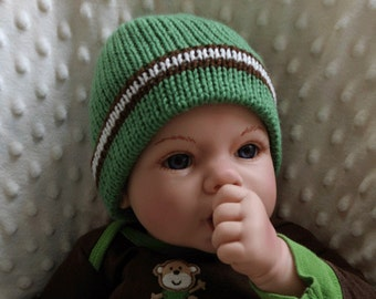 Newborn Knit Hat - Knit Hat for Newborn - Baby Hat - Baby Knit Hat - Shower Gift - Baby Boy Hat - Green - Baby Gift - Knitted Hat