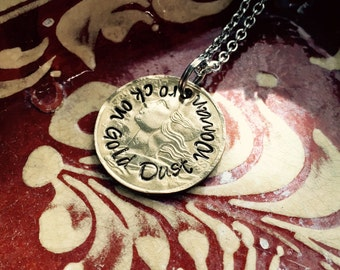 Fleetwood  Mac necklace or keychain  ~ stevie nicks  ~ metal stamped ~ rock on gold dust woman ~ vintage coin necklace