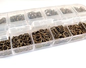 Antique Bronze Jump Ring Assortment Plated Iron Not Soldered NF Boxed 4mm to 10mm - F4003JR-ASAB
