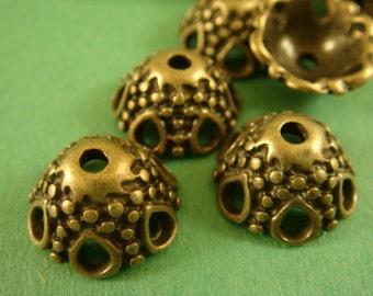 25 Brass Bead Caps Flower Antique Brass Color LF/CF 12x7mm - 25 pc - F4055BC-AB25