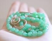 Chrysoprase necklace. Sterling silver handmade moons and Chrysoprase beads. Green necklace, Moon necklace, gemstone necklace, green gemstone