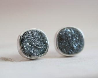 Gretel earrings. Sterling silver earrings with druzy Hematite. Hematite earrings, Hematite studs, Druzy Hematite studs, Druzy studs.