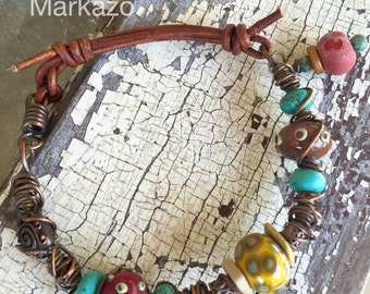Bead and leather bracelet