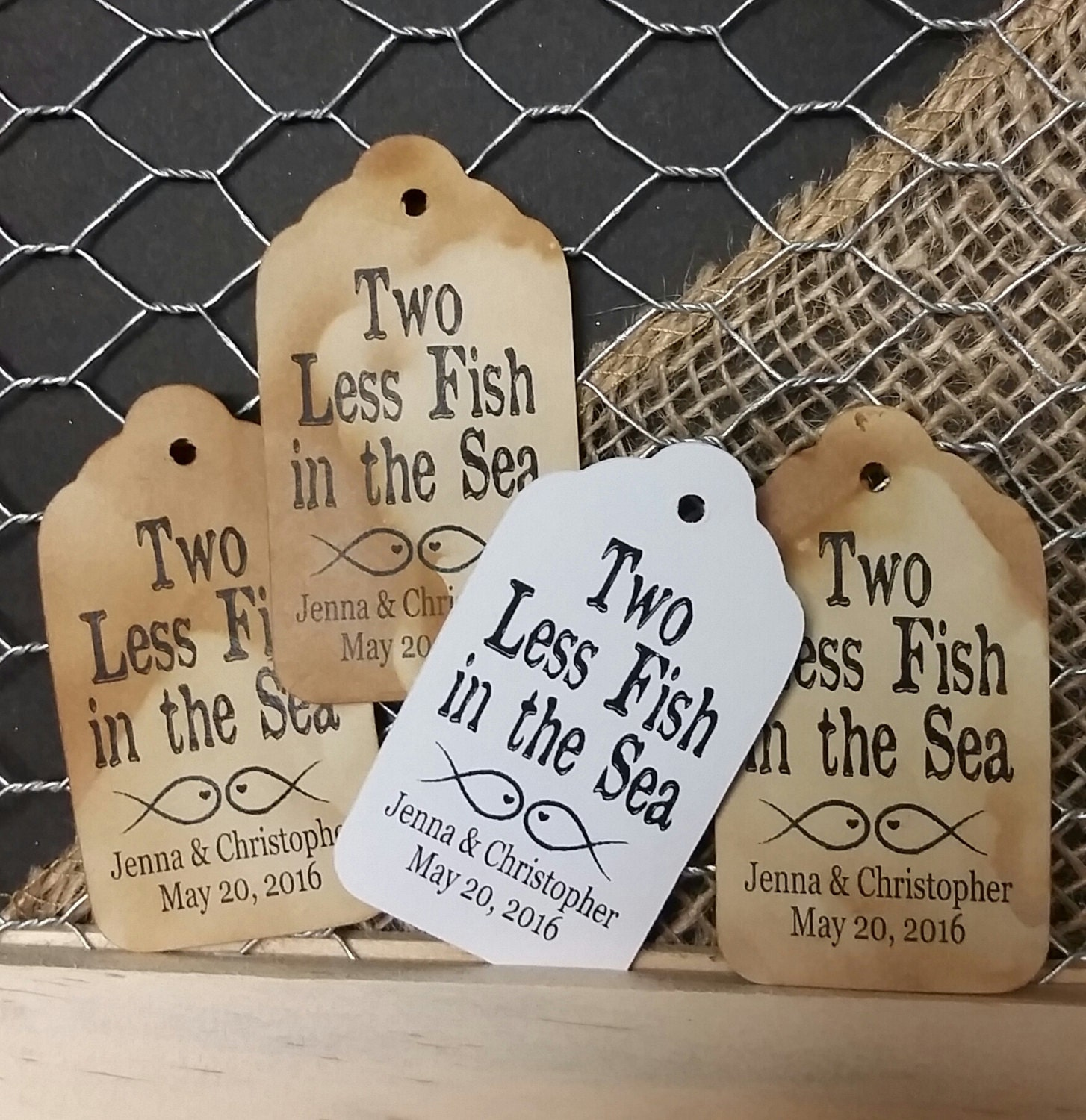 Two less fish in the sea 2 favor tag choose your quantity for Two less fish in the sea