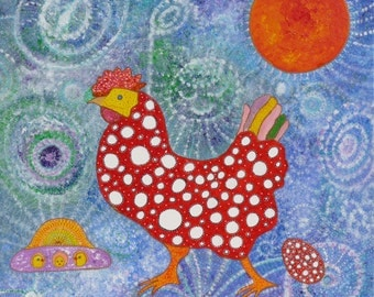 "Magic polka dot chicken 8x8"" signed Giclee print"