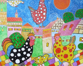 "Polka dot chickens in town, 8x8"" signed Giclee print on canvas intuitive visionary folk art,  for kitchen or child's room, colorful, magical"