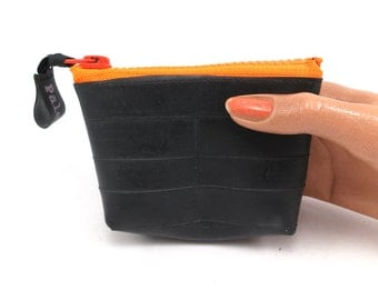 Small purse. Recycled bicycle inner tube purse with neon orange zipper and bottom, top quality.