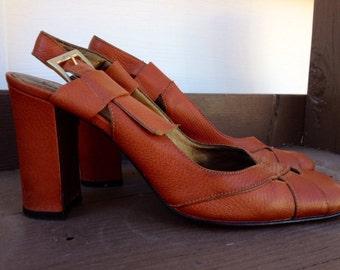 Vintage Shoes Sandals Women's 1990's Slingback Heel Nine West Size 7 1/2 Summer
