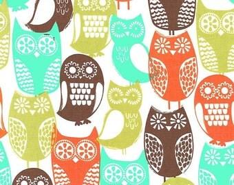 Michael Miller Swedish Owls Brown Fabric, 1  yard