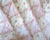 "Baby Rag Quilt, 29""x34"" Crib Quilt, Pink Rose White, Flannel, Cotton, Shabby Cottage Chic"