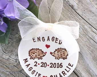 Engagement Gift Ornament - Hedgehogs in Love, Engagement Ornament, Wedding Ornament, Personalized Ornament