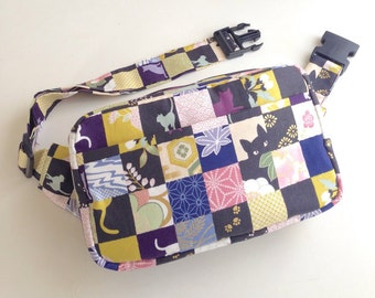 Body Bag / Waist Pouch / Hip Bag --- The Kimono Cat - Blue