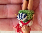 """Tiny Bisque Antique Jointed Doll in Crocheted Clothes 1 3/4"""" Itty Bitty Swiss Dress"""