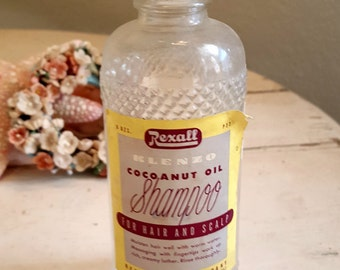 Vintage Antique Cocoanut Oil Shampoo Glass Botttle with Label - Medicine - Apothecary