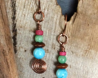 Wirework Dangle Earrings Jade Natural Stone Wood Antique Copper Wire      1.99 Shipping USA