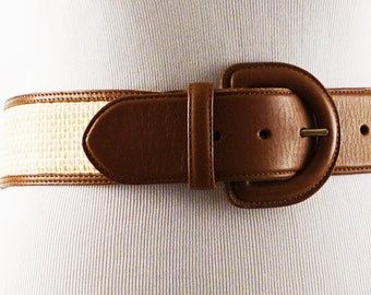 Vintage Landsend Leather and Basketweave Wide Belt