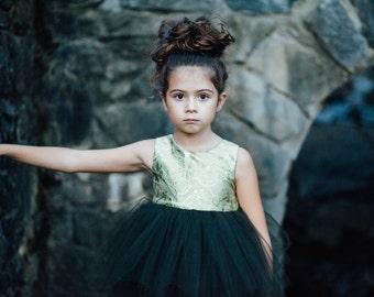 Girl's Dress, Kids Dresses, Tulle Dress, Green Dress, Baby Tulle Dress, Green Tulle Dress, Custom Size Available 12 M- 6/7