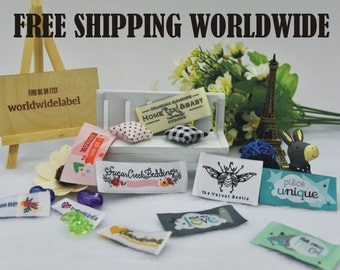 300 Custom Premium Damask Clothing labels Artwork woven labels in 50D The highest density woven label free 5-7 days express mail shipping