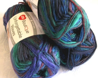 Unforgettable Waves AURORA yarn, Red Heart Boutique, beach shades of royal blue, green, teal, worsted weight, variegated yarn