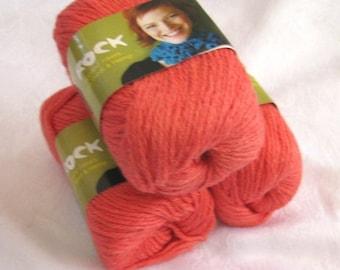 50% off - Wool Soysilk Hemp blend yarn, salmon orange red, worsted weight yarn, Shirley