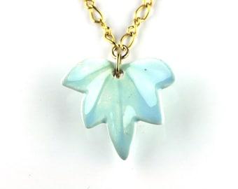 SALE - Vintage Blue Porcelain Leaf Pendant on Gold Chain