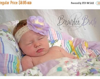 SALE Baby Headband - Baby Lavender Newborn Headband - Baby Girl Lace Headband.... Cream Lace Headband (LL)